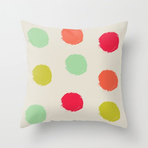 Pillow Cover, Throw Pillow, Mint, Orange, Green Pink, Nursery Room Pillow, 16x16 Pillow Decorative, Home Decor - Children's Spring Party