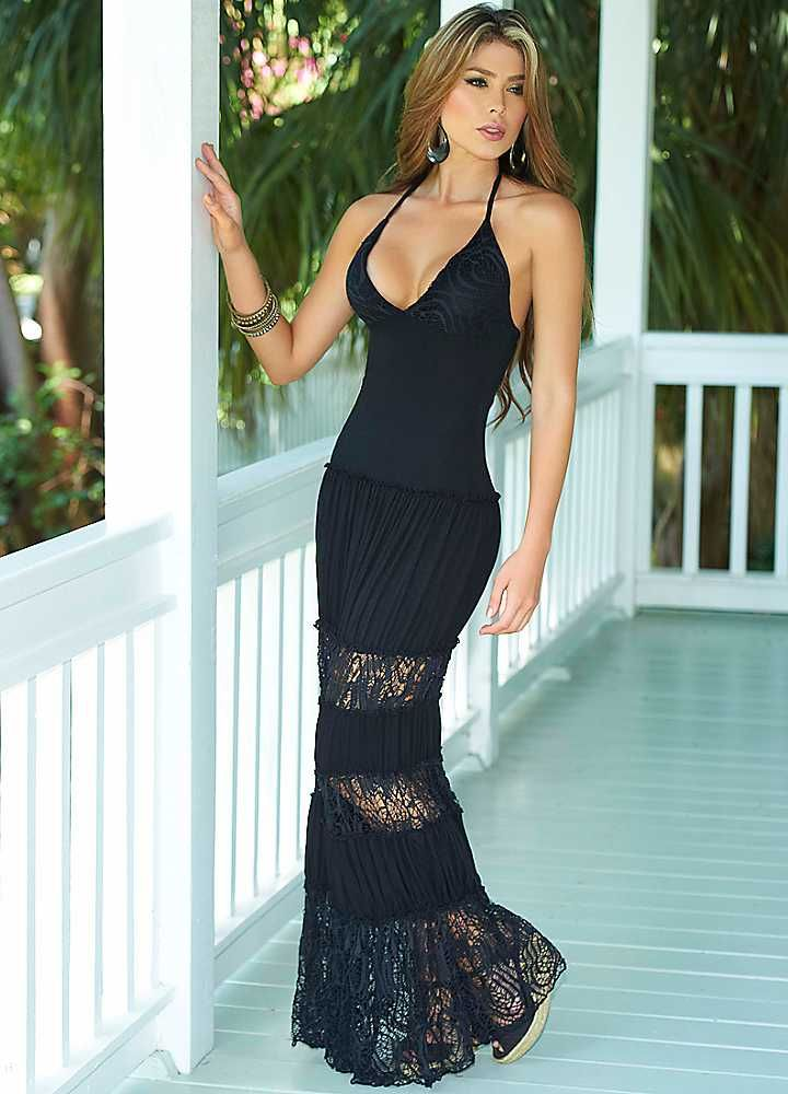 AM:PM Black Fitted Bodice Long Dress | My Style | Pinterest ...