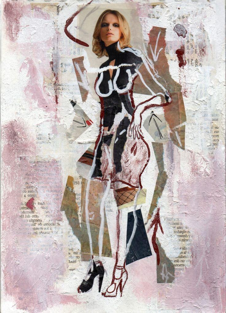 Anny... Serie Fashion Girl, Acrílico, carboncillo, Fotografía, pastel sobre papel (Pittura).  #Scketch, #Collage #Collageart