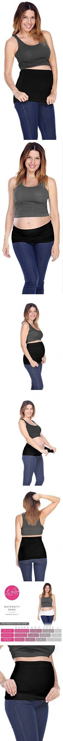 La Reve Maternity Belly Band | Seamless Waistband for all Stages of Pregnancy Black Large