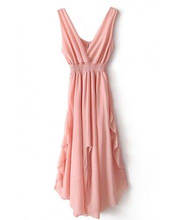 Pink V Neck Bandeau Ruffles Chiffon Dress