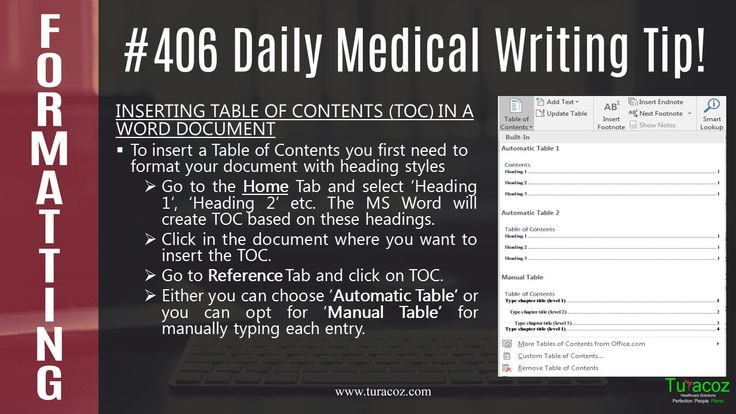 #TuracozHealthcareSolutions provides information on how to add #Table of contents in a #WordDocument.