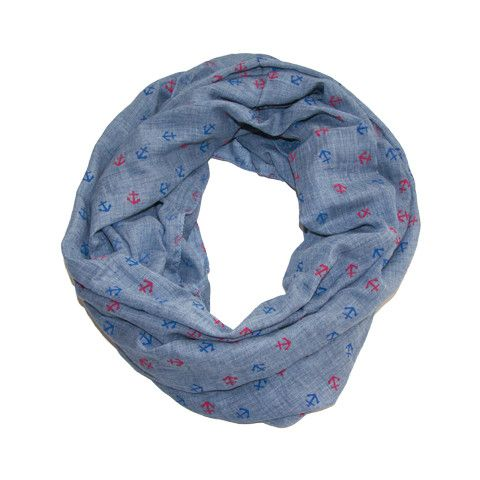 This blue chambray anchor infinity scarf is a great piece to add to your everyday wardrobe! Wear it as an accent piece or to give you a little extra warmth on a night out. The anchors are a perfect na