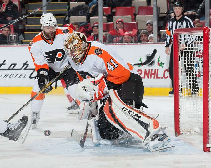 DETROIT, MI - DECEMBER 11: Anthony Stolarz #41 of the Philadelphia Flyers makes a save during an NHL game against the Detroit Red Wings at Joe Louis Arena on December 11, 2016 in Detroit, Michigan. (Photo by Jennifer Hefner/NHLI via Getty Images)