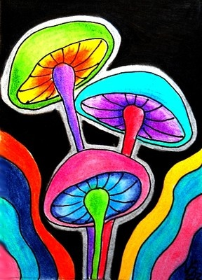 COLORFUL MUSHROOMS #3 ACEO ON EBAY