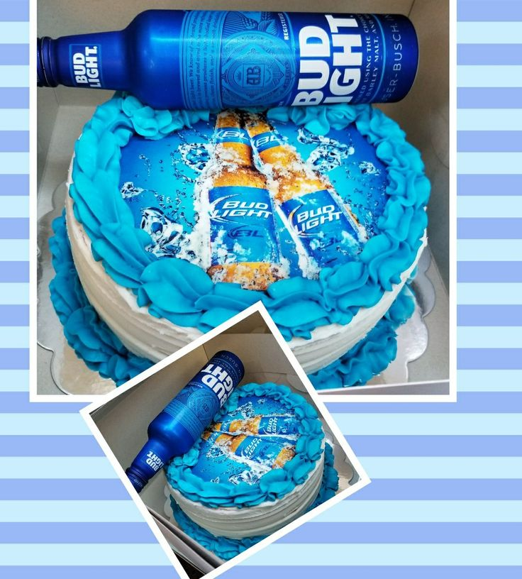 Bud light edible print cake.....vanilka cake with vanilla buttercream topped with a Bud light!!!