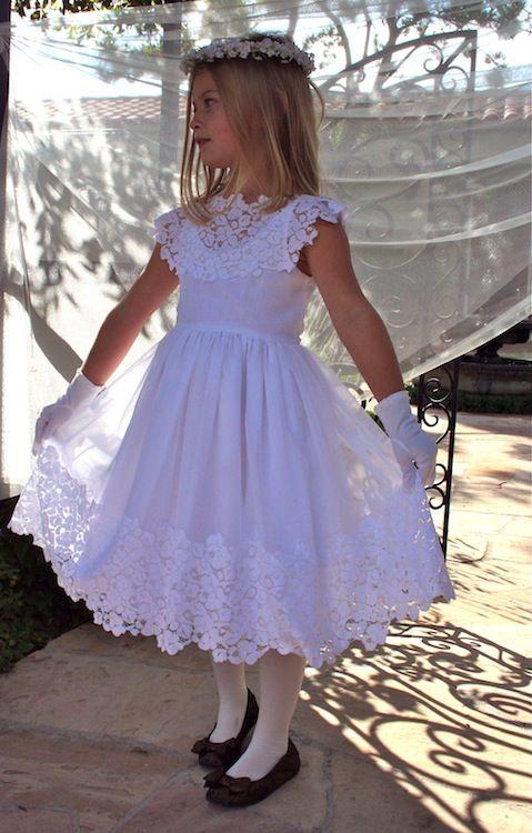 Communion Dress- Classic- White Cotton and Lace