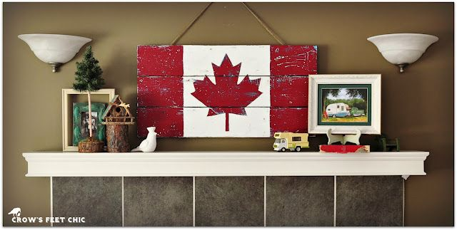 Crow's Feet Chic: multi colour layered Canadian flag on reclaimed lumber... cool!