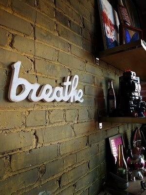 """""""breathe"""" wooden sign - want! for my yoga studio/space :-)"""
