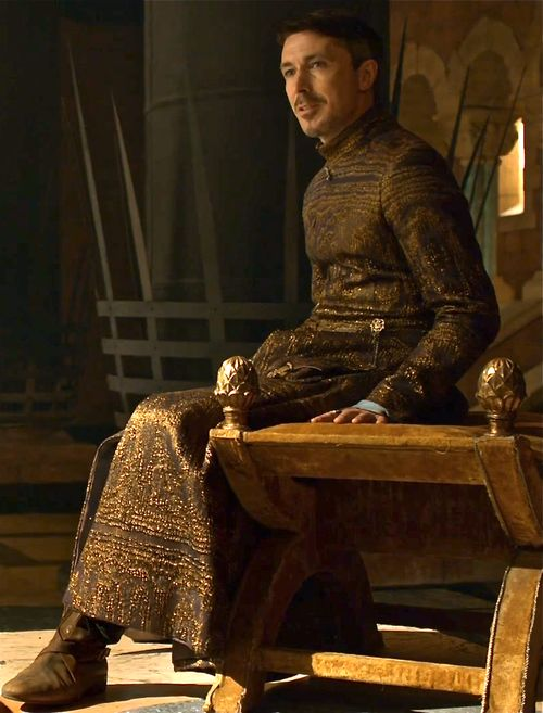 Petyr Baelish eyeing up the Iron Throne. Wearing enough gold there, Littlefinger?