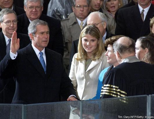President George W. Bush takes the oath of office from U.S. Supreme Court Chief Justice William Rehnquist (robed) at the U.S. Capitol, Jan. 20, 2001. Looking on are daughter Jenna, First Lady Laura Bush, and daughter Barbara, right. It was the Supreme Court decision joined by Rehnquist that helped Bush defeat Al Gore in the 2000 election.     More photos of presidents taking the oath of office ahead of Monday's inauguration: http://abcn.ws/W3XjJj