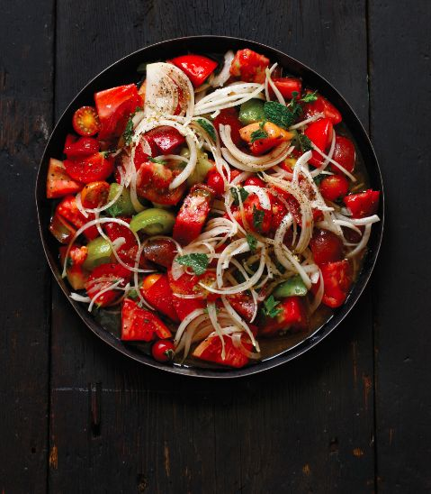 This is less of a recipe than it is a sketch of what belongs in a Lebanese tomato salad, which is so integral, so delicious that life just wouldn't be as good without it!