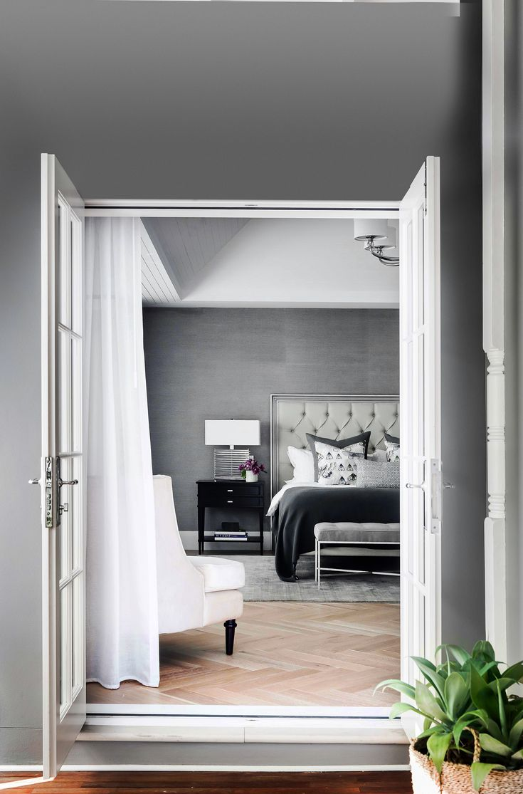 Luxurious master bedroom from a Hamptons style home in Sydney's Eastern Suburbs. Photo: Maree Homer