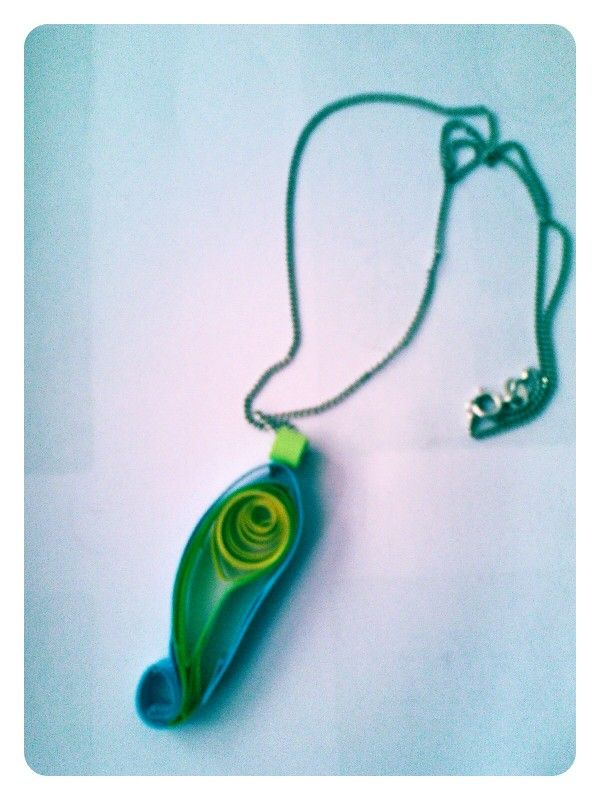 Hand made blue and yellow paper pendant by Quillicious.