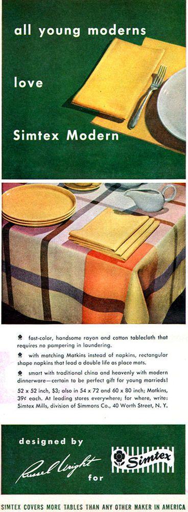 Russel Wright SIMTEX MODERN Tablecloth MATKINS Creamer 1950 MAGAZINE AD