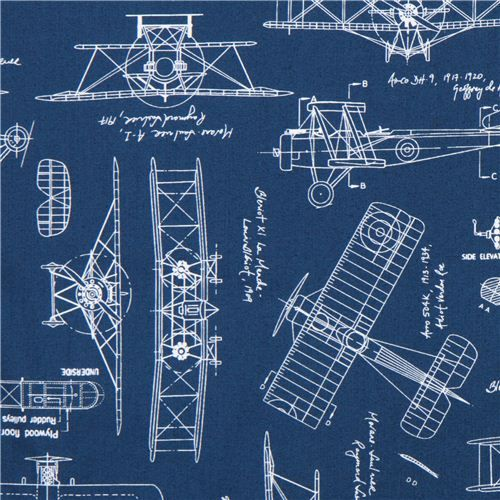 Blue Vintage Blueprints Airplane Draft Plan Fabric