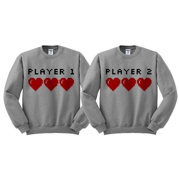Valentine's Day Player 1 Player 2 T Shirt Couples Shirts Best Friends... ($18) ❤ liked on Polyvore featuring tops, couples, shirts, sweaters, grey, women's clothing, unisex shirts, crewneck shirt, valentines day shirts and collar top