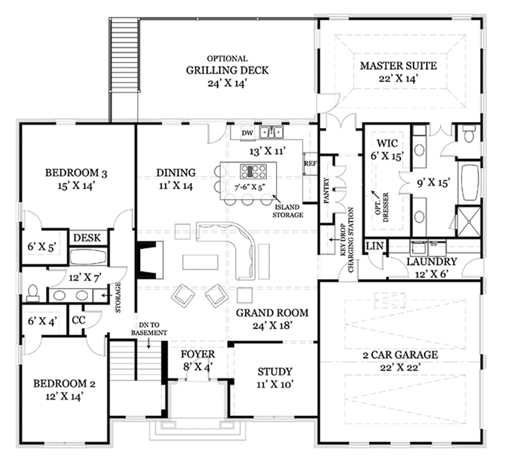 Colonial Style House Plan 3 Beds 2 Baths 2365 Sq/Ft Plan