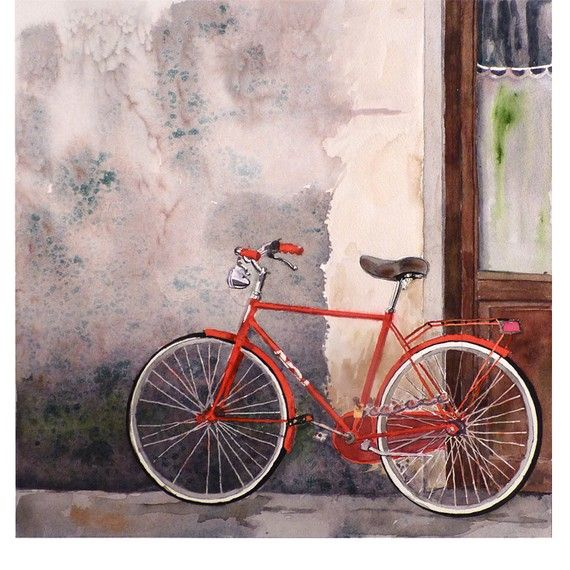 """""""Visiting a Friend"""" Florence Italy Bicycle Art Watercolor Print  by WatercolorByMuren, $28.00"""