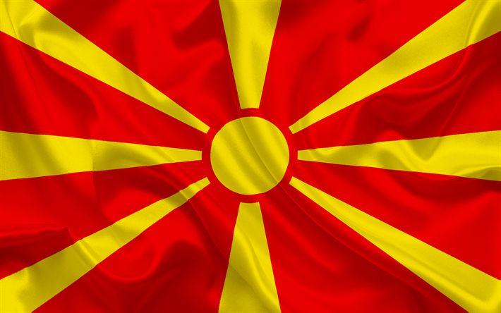 Herunterladen hintergrundbild mazedonische flagge, mazedonien, seide flagge, nationale symbole, europa, flagge von mazedonien
