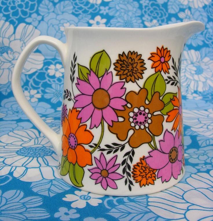 Mid Century Elizabethan Portobello Milk Jug Orange, Pink and Brown. £14.99, via Etsy.