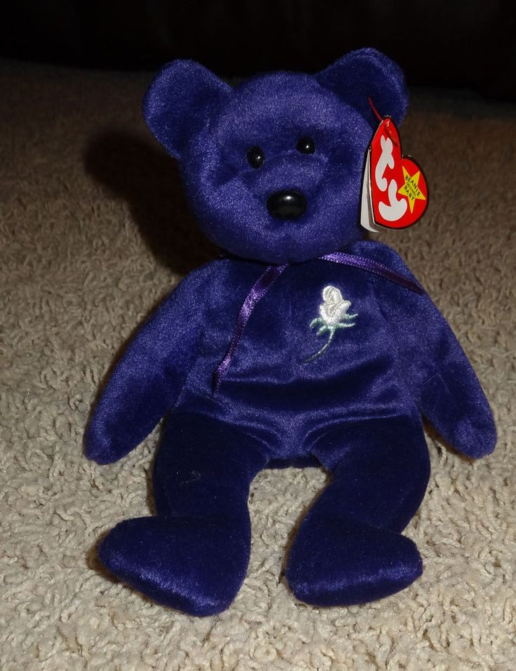 TY Beanie Baby Princess Diana Bear P.C. Pellets Purple 1997 China Rare - TH #Ty