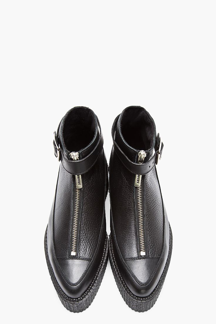 UNDERGROUND Black Tumbled Leather Pointed Zip Creeper Boots