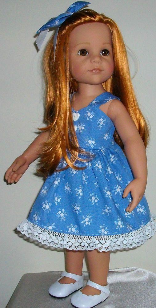 "Vintagebaby sun dress & hair bow for 18"" dolls Designafriend/Gotz hannah"