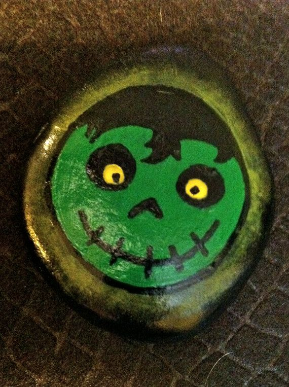 """Hand painted rock """"green monster"""""""