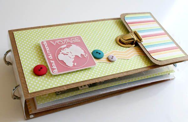 mini album voyage autour du monde, par Alolette - papiers Swirlcards collection Champêtre