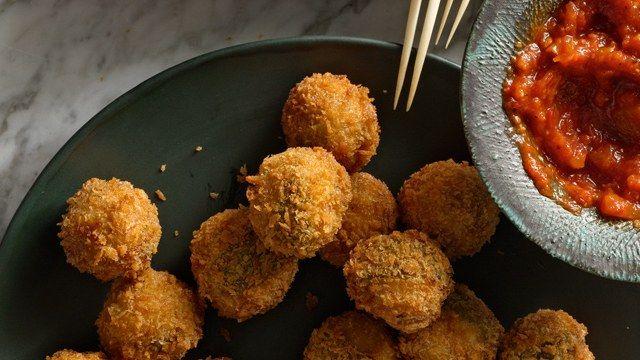 Ricotta and Sage Fried Meatballs Appetizer Recipe | Bon Appetit