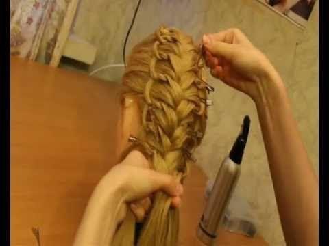 """""""Пёрышко"""", ажурное плетение, коса с узелками.braid"""
