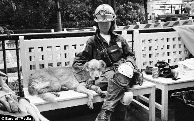 Beautiful portraits of some of the last surviving rescue dogs who were at Ground Zero. This is Bretagne taking a break from work at the 9/11 site with Denise