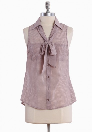 Shirts like these are my go-to when you want to dress up jeans and a top. You won't feel frumpy in a top like this with that bowtie! This one needs a tank underneath.