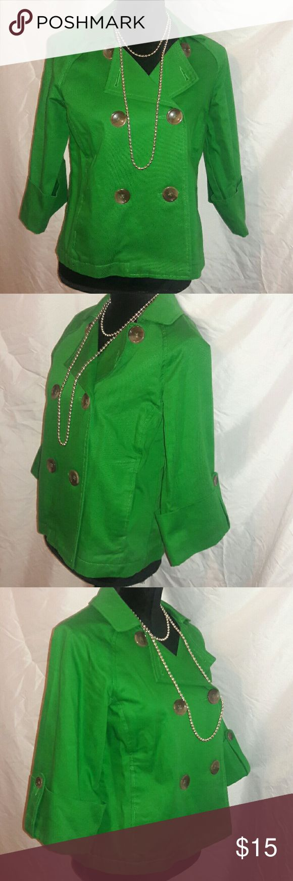 Green Jacket This Gorgeous jacket can be worn to dress up going out on the night...or dress down to wear around town...side pockets to model around...Big Buttons don't care it's a Vintage look! Not Vintage! Lol! Old Navy Jackets & Coats Pea Coats