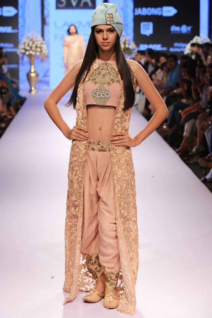 Old rose floral jaal jacket with embroidered crop top and patiala by SVA. Shop at: http://www.perniaspopupshop.com/lfw-march-2015/sva #sva #croptop #perniaspopupshop #shopnow #beautiful #happyshopping