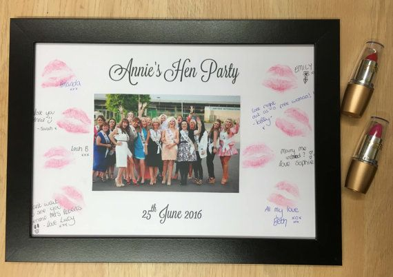 Lipstick Kiss Frame Hen Party Night Do Bachelorette keepsake gift for bride to be game guest book HPLSF102