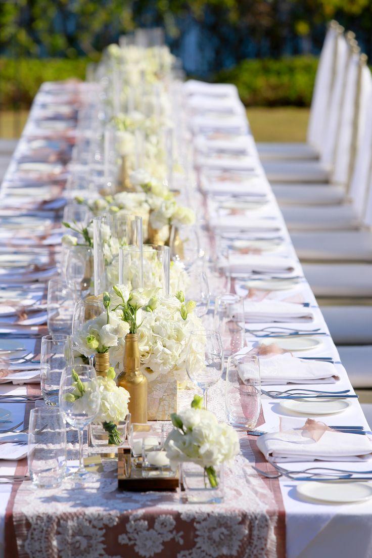 Long Table dressed up in White by Tirtha Bridal Uluwatu Bali