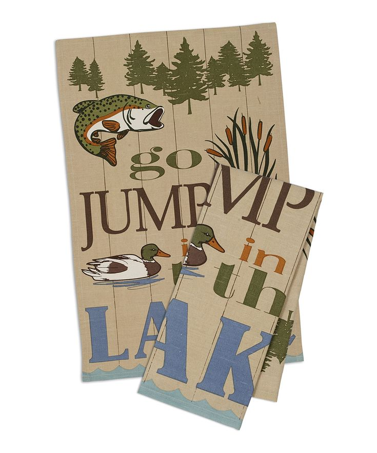 Rustic 'Go Jump in the Lake' Dishtowel - Set of Two