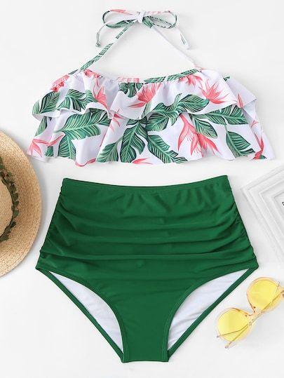 ce936e82a Set de bikini de cintura alta con estampado de selva