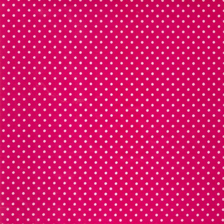Geplastificeerd Katoen PVC Mini Dots Fuchsia - Hip gecoat tafellinnen met met witte stippen (2mm) op een fuchsia ondergrond. De randen van van dit product zijn niet afgewerkt en soms rafelig, houd hier dus rekening mee. Dit geplastificeerd katoen is van zeer goede kwaliteit en heeft een PVC coating. Door de gladde pvc coating is het goed schoon te houden, maar mag ook in de wasmachine op 30 graden. Houd hierbij wel rekening met een mogelijk krimp van 5%. Kies de gewenste lengte in het menu…