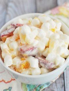 Marshmallow Fruit Salad! Fruit and marshmallows in a delicious sauce!