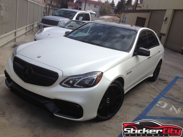 mercedes e63 fully wrapped in satin pearl white http