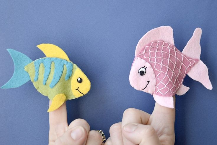 Five Friendly Sea Creatures - Wool Blend Felt Finger Puppets - READY TO SHIP
