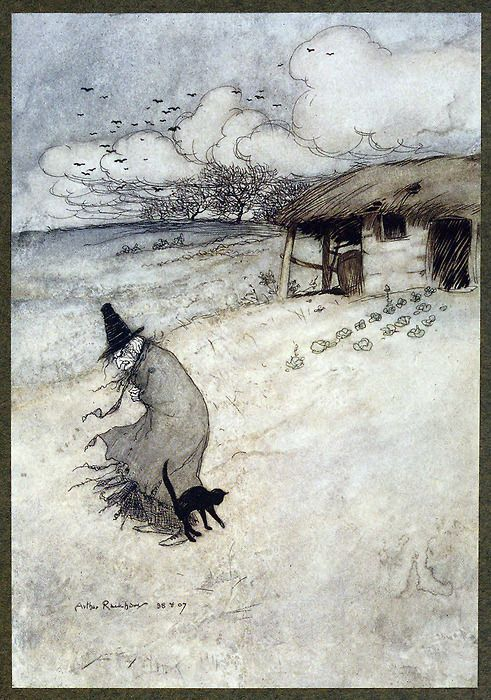 There's an old woman dwells upon Tappington moor. Arthur Rackham, from The Ingoldsby legends.