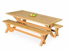 Elegance In-outdoors Teak 3pc Cross-leg Bench Dining Setting