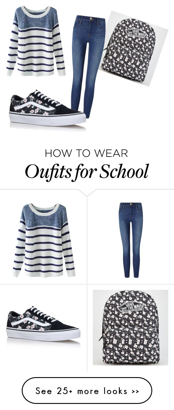 """Back to school"" by andreea-andra98 on Polyvore featuring Vans, Chicnova Fashion and Frame Denim"