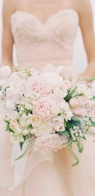 blush, white and pale pinks for bouquets...make more rounded and slightly more pink for bridesmaids