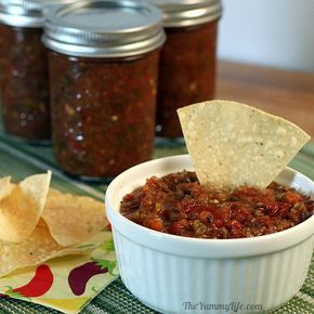 Roasted Salsa Recipe Illustrated!! links to 2 different sized batches. I used Brandywine tomatoes and very mild Jalapenos (they weren't hot this year) as well as Anaheim. I cut back on the cumin (1 tsp) and pepper (1 scant tsp) and no cilantro or vinegar.