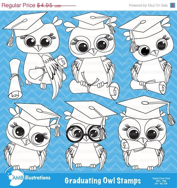Graduation Owl Clipart Digital Stamps Coloring Page